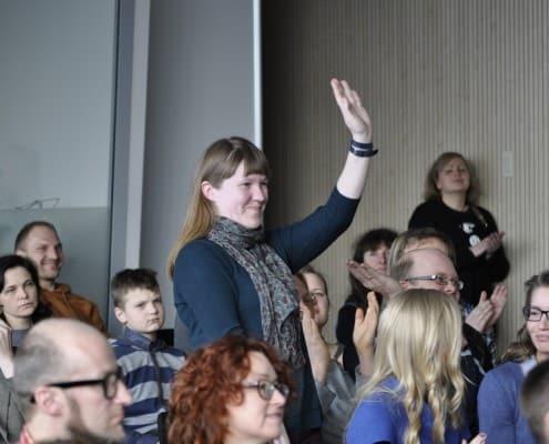 Antrojo Nacionalinio vaikų literatūros konkurso pristatymas. Viena iš laimėjusių konkursą. Laimutė Varkalaitė.